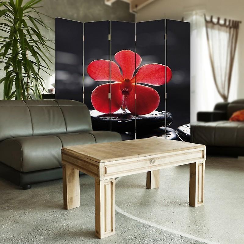 Diviseur de chambre, 5 panneaux, double-sided, Rotatable 360, toile, Zen