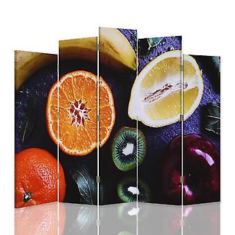 Dekorativa rumsavdelare, 5 paneler, duk, sektionerad frukt