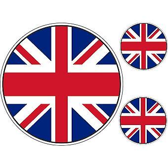 Set 3X Sticker Sticker Sticker Motorcycle Car Round UK UK English Flag