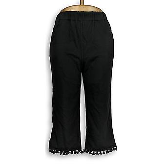 Quacker Factory Women's Pants French Terry Capri Pants Black A305380