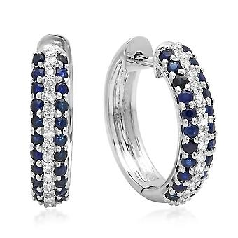 Dazzlingrock Collection 14K Round Blue Sapphire & White Diamond Ladies Pave Set Huggies Hoop Earrings, White Gold