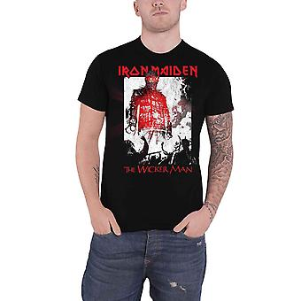 Iron Maiden T camisa Wickerman fumar banda logotipo oficial nova Mens Black