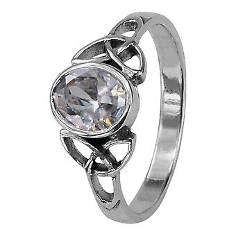 Celtic Holy Trinity Noeuds Birthstone Ring Avril - Crystal Stone