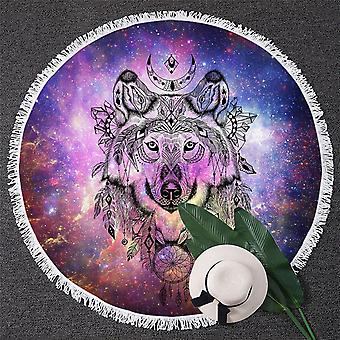 Native American Wolf over ruimte strandlaken