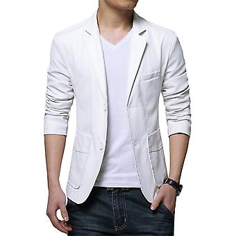 Allthemen Men's PU Blazer Solid Lapel Slim Fit Leather Jacket