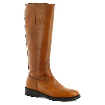 Leonardo Shoes Women's handmade booties in tan calf leather with side zip