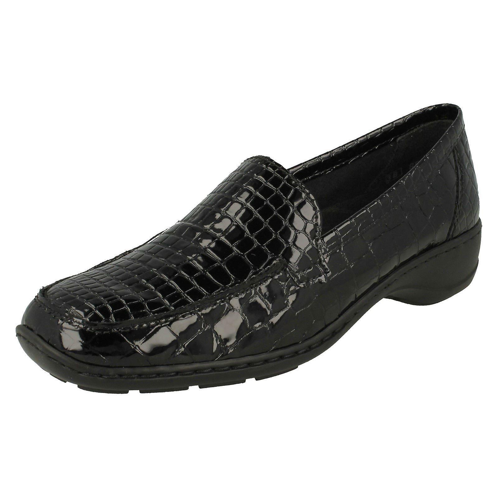 Ladies Rieker Croc Print Detailed Shoes 583A0 dtgSQ