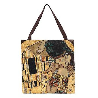 Klimt - gold kiss shopper gusset bag by signare tapestry / guss-art-gk-gdks