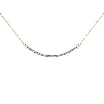 Igi certified natural 10k yellow gold 0.25ct solid diamond bar necklace