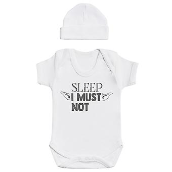 Sleep I Must Not, White Baby Bodysuit, White Baby Bean Hat, Baby Outfit