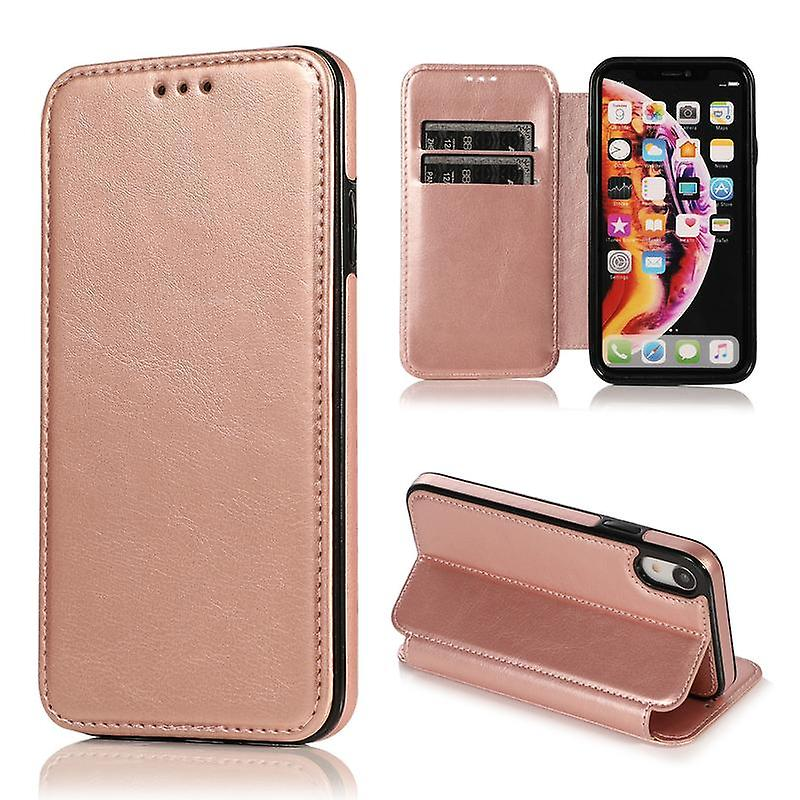 CaseGate phone case for Apple iPhone XR case cover - in pink - magnetic clasp, stand function and card compartment