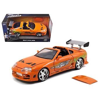 Brian'S Toyota Supra Orange - Película rápida y furiosa 1/24 Diecast Model Car de Jada