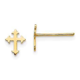 14k gult gull solid polert religiøs tro kors for gutter eller jenter innlegg øredobber måler 7x6mm bred