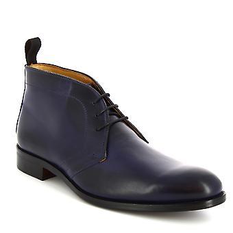Leonardo Shoes Men's handgemaakte laarzen met hoge vet in donkerblauw kalfsleer
