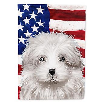 Bolognese Dog American Flag Flag Canvas House Size
