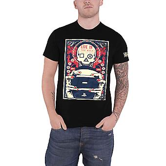 Playstation T Shirt Gaming Skull Live in your World Logo new Official Mens Black
