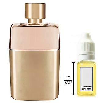 Gucci Guilty For Her Inspired Fragrance 30ml Refill Essential Diffuser Oil Burner Scent Diffuser