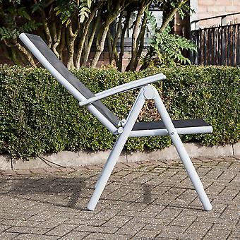 Adjustable Lightweight Aluminium Folding Garden Dining Chair Seats (Black)