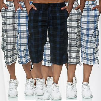 Men long cargo shorts loose 3/4 Capri Bermuda pants Fresh-Flow stretch waistband