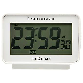 NeXtime - Wecker - 12,3 x 8,8 cm - Kunststoff - Atomuhr - Matt weiß - 'Easy Alarm Radio Controlled'