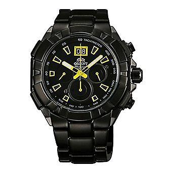 Relógio Orient cronógrafo quartz masculino com banda de aço inoxidável FTV00007B0