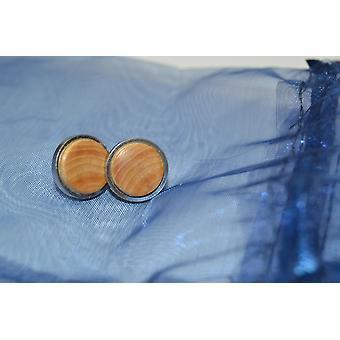 Wooden earrings stud earrings juniper earrings jewelry handmade unique gift stainless steel 1.5 cm