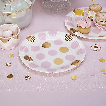 Pink and Gold Dots Party Paper Plates x 8 Baby Shower / Christening / Party