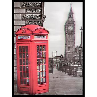 W.A. 3D Wall Art Big Ben Phone Box Portrait Framed Lenticular Red Grey Picture