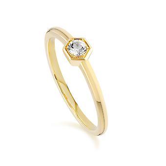 Waben inspiriert weiß Topas Solitär Ring in 9ct Gelbgold 135R1837059