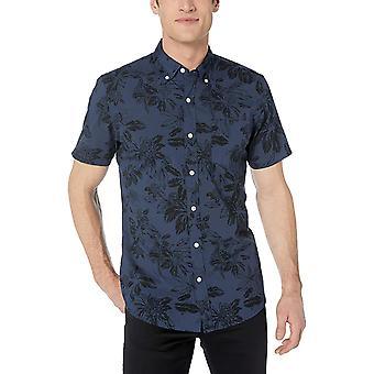 Goodthreads Men's Standard-Fit Short-Sleeve Printed Poplin Shirt, Navy Floral...