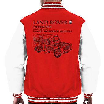 Haynes propietarios taller Manual 3017 Land Rover Defender negro Varsity chaqueta de los hombres
