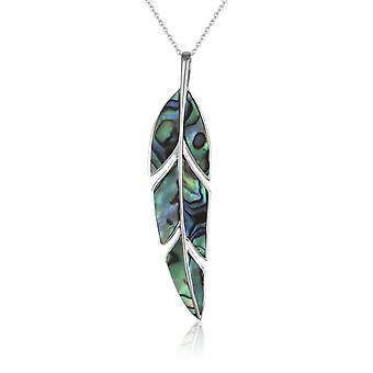 ADEN 925 Sterling Silver Abalone Mother-of-pearl Pendant Necklace (id 2815)