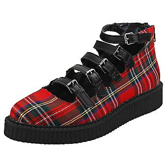 T.U.K Pointed Mary Jane Multi Straps Womens Platform Shoes in Red Tartan