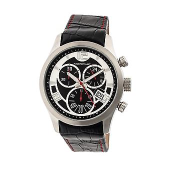 MORPHIC M37 serie lederen-Band chronograaf horloge - zilver