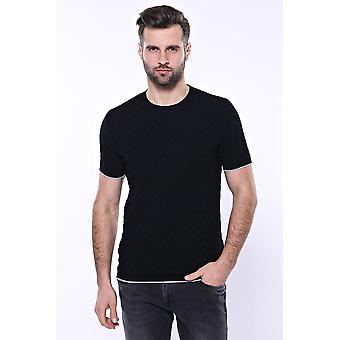Svart mönstrad tricot stickad t-shirt