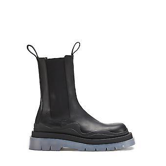 Bottega Veneta 630284vbs501026 Heren's Black Leather Enkellaarsjes