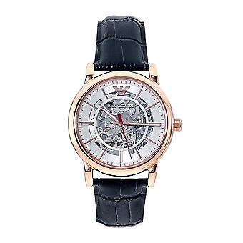 Armani Watches Ar60009 Rose Gold And Navy Blue Leather Men's Skeleton Automatic Watch