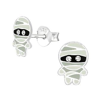 Children's Sterling Silver Mummy Stud Earrings with Crystals