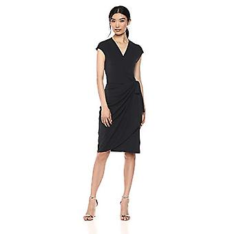 Lark & Ro Women's Classic Cap Sleeve Wrap Dress, Black, Large