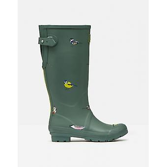 Joules Welly Print Dames Rubber Tall Wellies Green Birds