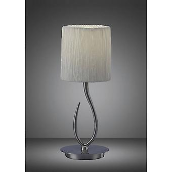 Lua Table Lamp 1 Bulb E27, Satin Nickel Small With White Shade