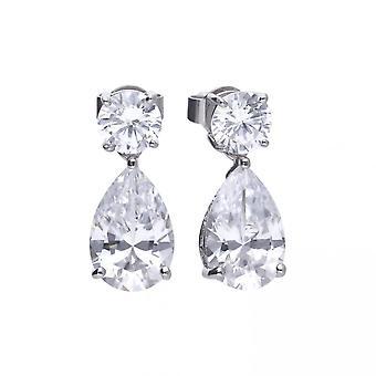 Diamonfire Silver White Zirconia Teardrop Shape Boucles d'oreilles E5596