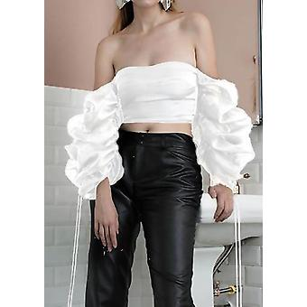 Organza Puff Sleeve Pizzo Up Crop Top White