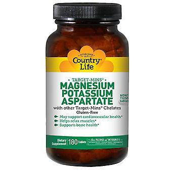 Country Life Magnesium - Kalium aspartaatti kohdeminit, 180 tabia