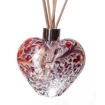 Srdce v tvare tézy difúzor červená a biela praskanie od Amelia Art Glass