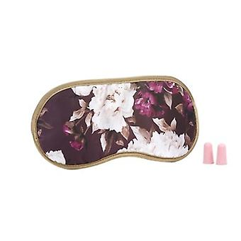 Vintage Burgundy Floral Satin Eye Mask & Ear Plug Set