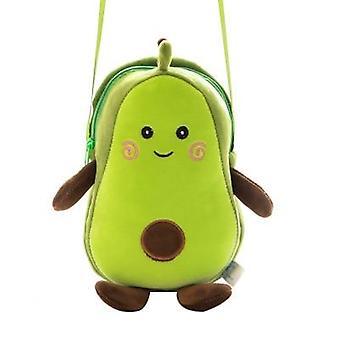 Sarjakuva avokado pehmo, lelut pehmeät täytetyt hedelmät - olkalaukku (vihreä 23cm)