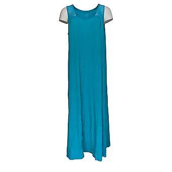 Aria Dress Soft Touch Jersey Sleeveless Midi Tank W/ Lace Blue 637-149