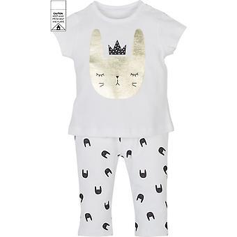 Mamino Baby Girl Baskili Bílá 2 kusy Pyžama Set