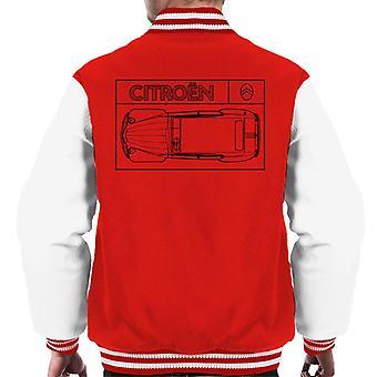 Citro?n 2CV Black Diagram Top View Men's Varsity Jacket